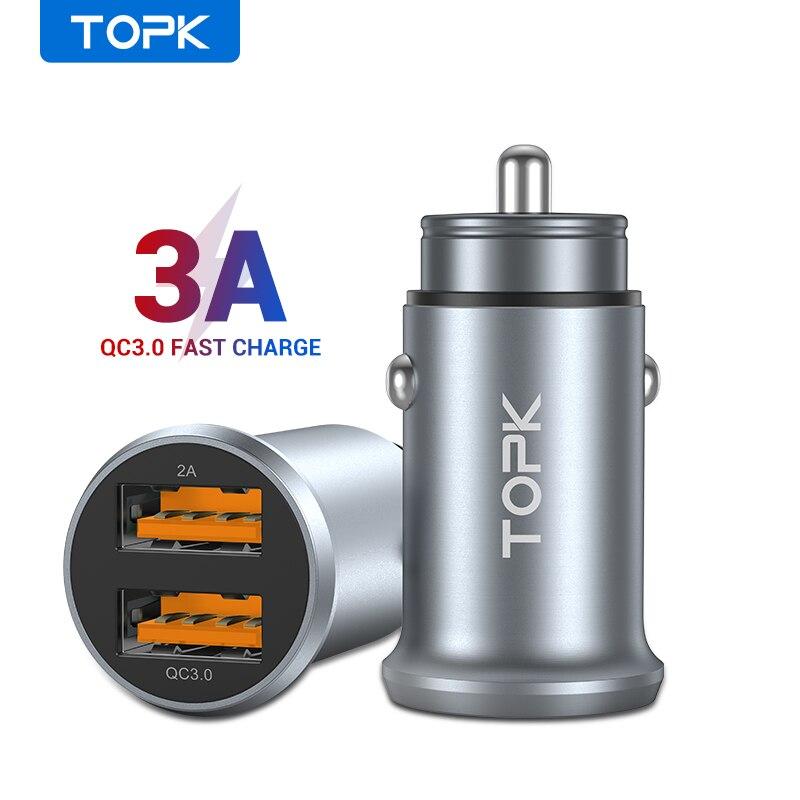Автомобильное зарядное устройство TOPK Quick Charge 3,0 MINI USB, двойное быстрое зарядное устройство USB 3,1 а для Xiaomi samsung iPhone 11 Pro Max, мобильный телефон, зарядное устройство|Зарядные устройства|   | АлиЭкспресс - Я б купил