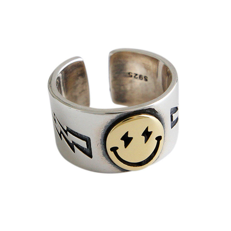 Vintage Wide Smile Face Ring Female Golden Face Lightning Pentagram Open Finger Rings Adjust Party Jewelry
