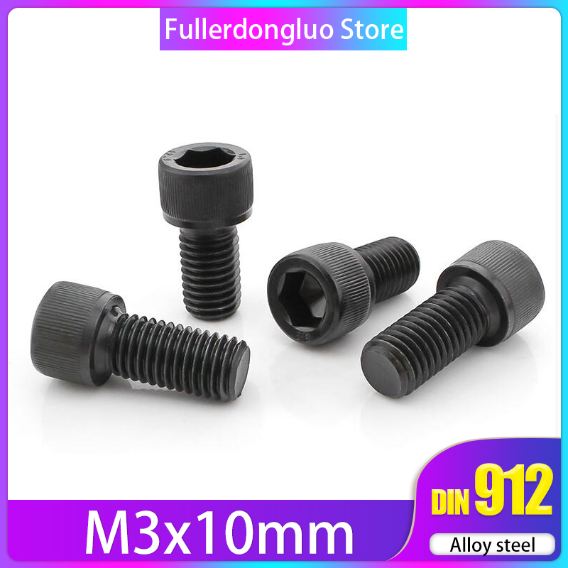 100 Pcs <font><b>M3</b></font> <font><b>10mm</b></font> Alloy Steel Socket Cap <font><b>Screw</b></font>, Class 12.9, Black Oxide Finish ( din912 <font><b>m3</b></font> <font><b>10mm</b></font> <font><b>screw</b></font> m3x10mm <font><b>m3</b></font>*10 <font><b>m3</b></font> x 10 m3x10 image