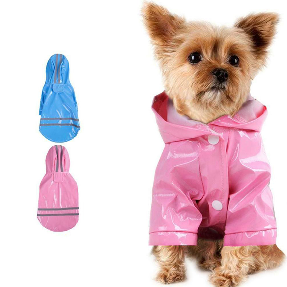 Small Pet Rain Coat Outdoor Solid Hooded Raincoat Pet Waterproof Puppy Dog PU Jacket Fashion Dog Apparel Clothes