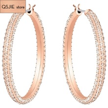 QSJIE  High quality 1:1 SWA birthday gift fashion design Stone hollow yellow Earrings Glamorous fashion jewelry