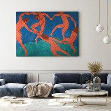 Modern Wall Art kobiety taniec Vintage obraz plakat Emanuel franta Bez Nazvu druk na płótnie różowy niebieski obraz dekoracji wnętrz