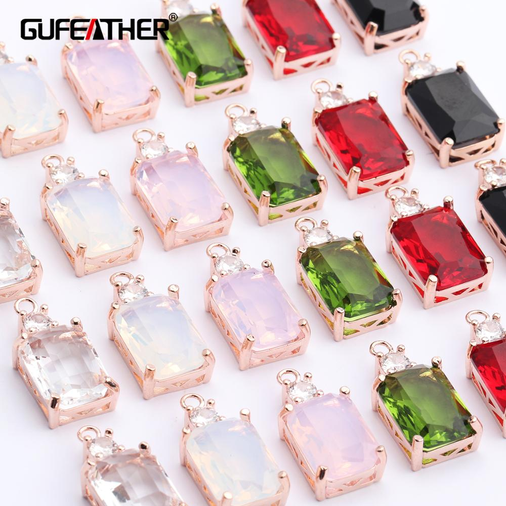 GUFEATHER M453,jewelry Accessories,18k Gold Plated,diy Zircon Pendant,jump Ring,hand Made,diy Earring,jewelry Making,6pcs/lot