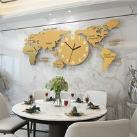 LUMINOVA Nordic simple wall clock acrylic creative Fashion world map clock for living room decoration silent wall clocks decor