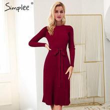 Simplee, vestido elegante de punto para mujer, vestido de invierno con tirantes de manga larga acampanado, vestido liso con cuello redondo, vestido a la rodilla para mujer