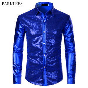 Image 3 - Metallic Silver Mens Stage Shirts Brand Embellished Sequins Shirt Men Social Camisa Masculina Disco Club Costume Chemise Homme
