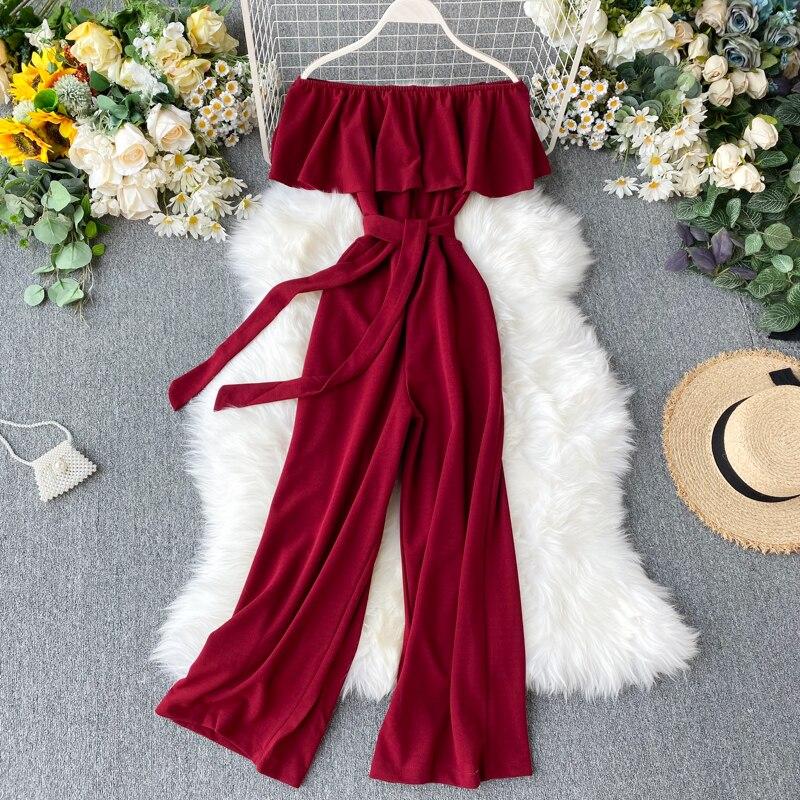 TAOVK Autumn Women's Solid Collar Off Shoulder Ruffled Lace High Waist Thin Siamese Wide Leg Pants