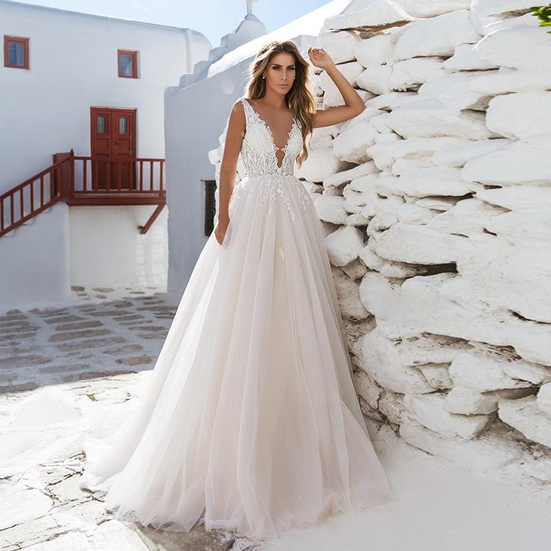 Verngo A-line Wedding Dress Lace Appliques Wedding Gowns Elegant Bride Dress Sleeveless Boho Wedding Dresses Robe De Mariee 2020