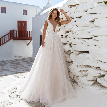 Verngo A-line Wedding Dress Lace Appliques Wedding Gowns Elegant Bride Dress Sleeveless Boho Wedding Dresses Robe De Mariee 2020 front slit appliques wedding dresses 2019 off the shoulder a line chiffon bride dress free shipping wedding gown robe de mariee