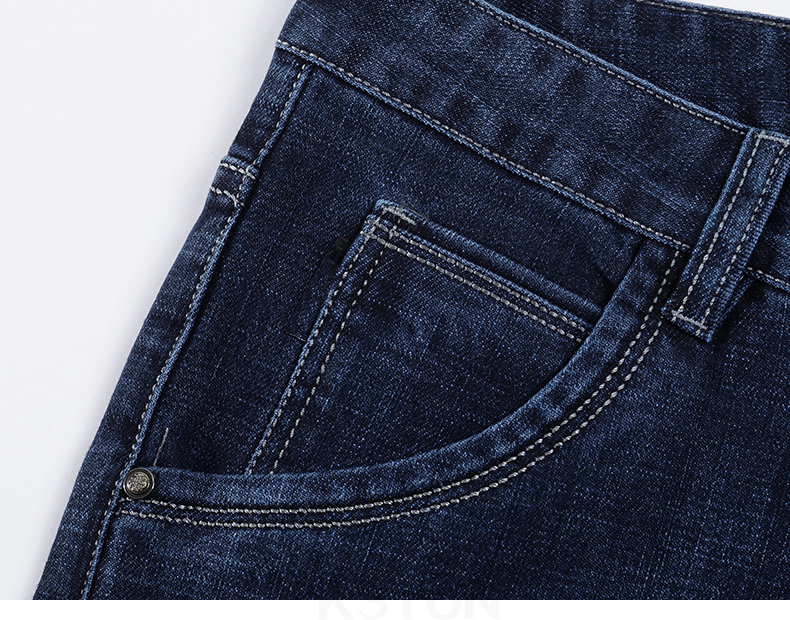KSTUN Jeans Men Classic Straight Dark Blue Spring and Autumn Regular Fit Casual Pants Cotton Men's Clothing Trousers Male Jeans 15