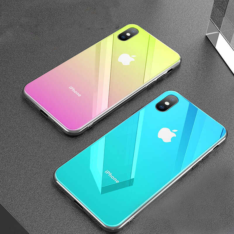 For Iphone Xs max Xr X Xs 7 8 Plus Tempered Glass Color Changing Gradient Mirror Back Cover Multi-layer Shining Hard Phone Case