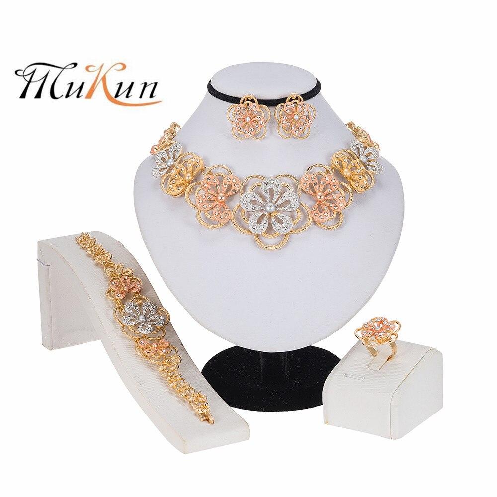 2020Dubai Fashion Jewelry Sets Necklace Bracelet Flower Shape Pendant Earrings Ring Crystal Jewelry Dubai Bridal Wedding Jewelry