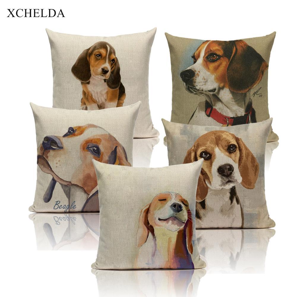 Dog Pillow Cases Cotton Animal Pillowcases Cute Beagle Watercolor 45*45 40*40 For Children Kids Beige Fur Linen Cushion Cover