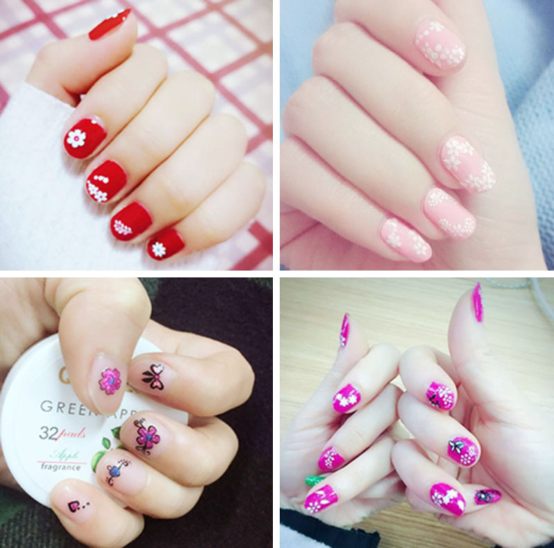 Manicure Flower Stickers Set 10/30/50 A Pack Of Different-3D Black And White Color Nail Sticker