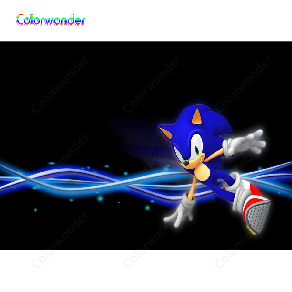 Cartoon Black Backgrounds Blue Hedgehog Sonic Dancing With Red Shoes Twinkle Stars With Ribbons Game World Backdrops For Kids Background Aliexpress