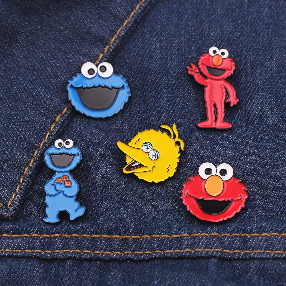 Мультяшные Броши Улица Сезам эмалевые булавки Elmo печенье монстр Брошь булавка для браслета милый подарок унисекс
