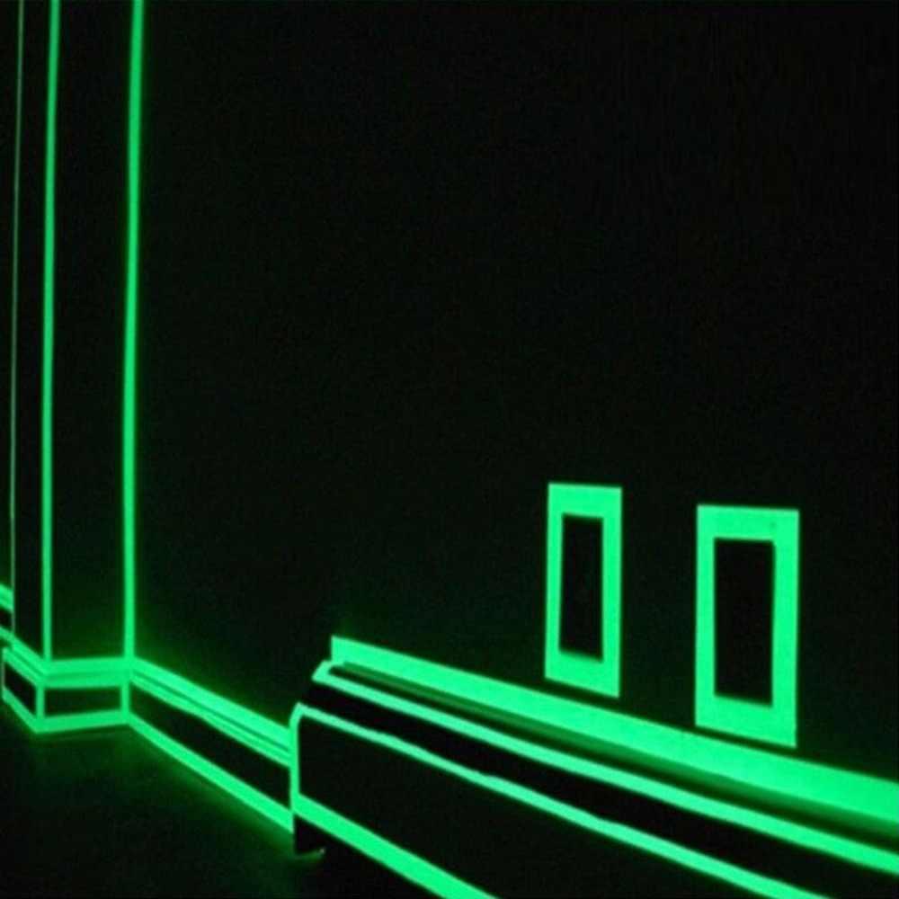 1,5 cm * 1m luminoso fluorescente de noche auto-adhesivo que brilla en la oscuridad cinta adhesiva de seguridad cinta de decoración de advertencia para el hogar