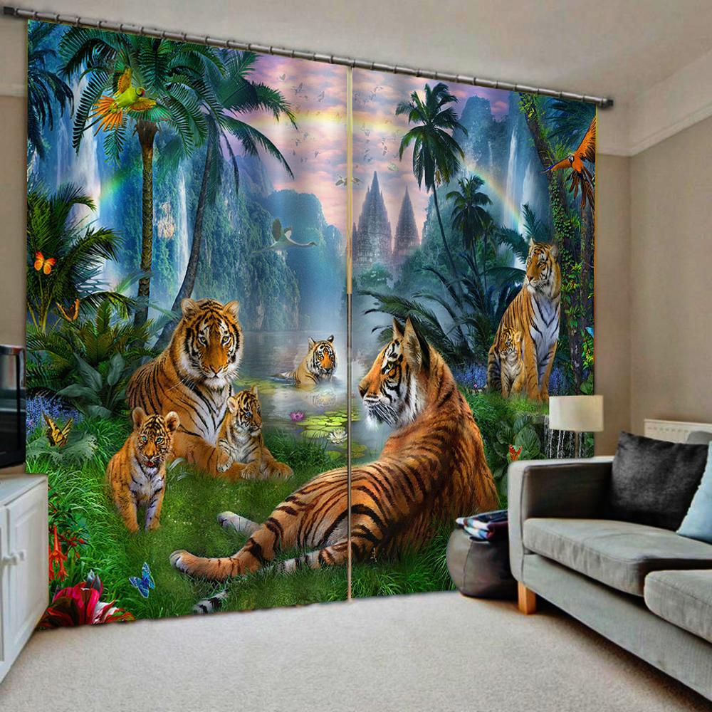 animal tiger curtains nature scenery Customized 3D Blackout Curtains Living Room Bedroom Hotel Window curtains