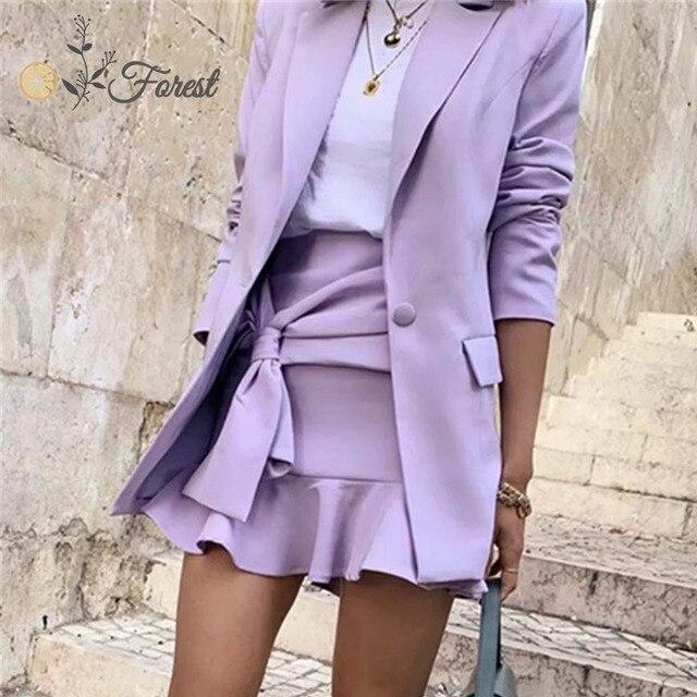 Фото oforest elegant women blazer set 3 pieces purple coat tank with
