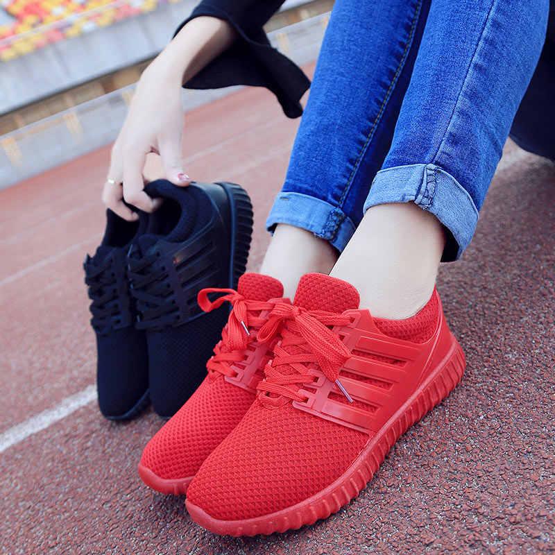 Zomer Vrouwen Mesh Schoenen Lace-up Ademende Loafers Lopen Fitness Meisje Casual Sneakers-OPK