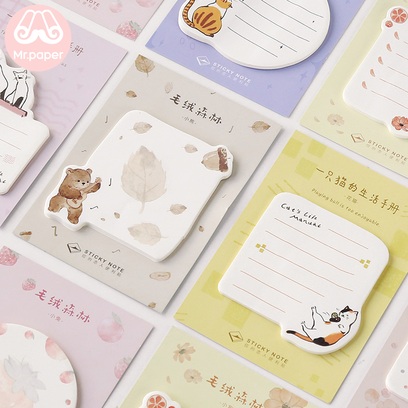 Mr.paper Memo Pad Sticky Cartoon Notes Notepad Kawaii Cat Stationery Self-Adhesive 30 Pcs Pepalaria Office School Supplies