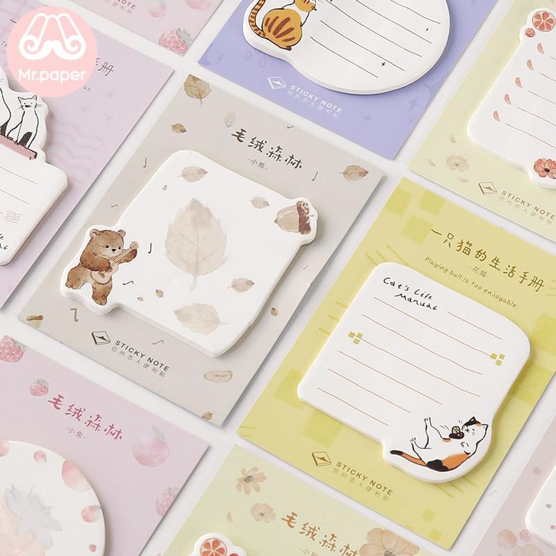 Mr.paper Memo Pad Sticky Cartoon Notes Notepad Kawaii Cat Stationery Self-Adhesive 30 Pcs Pepalaria Office School Supplies