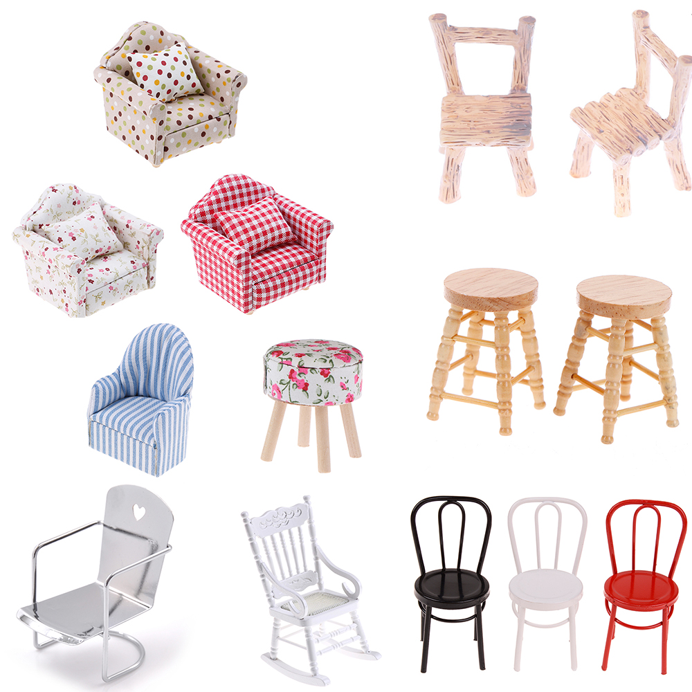 New Sofa Stool Chair Furniture Model Toys For Doll House Decoration 1/12 Simulation Dollhouse Miniature Accessories