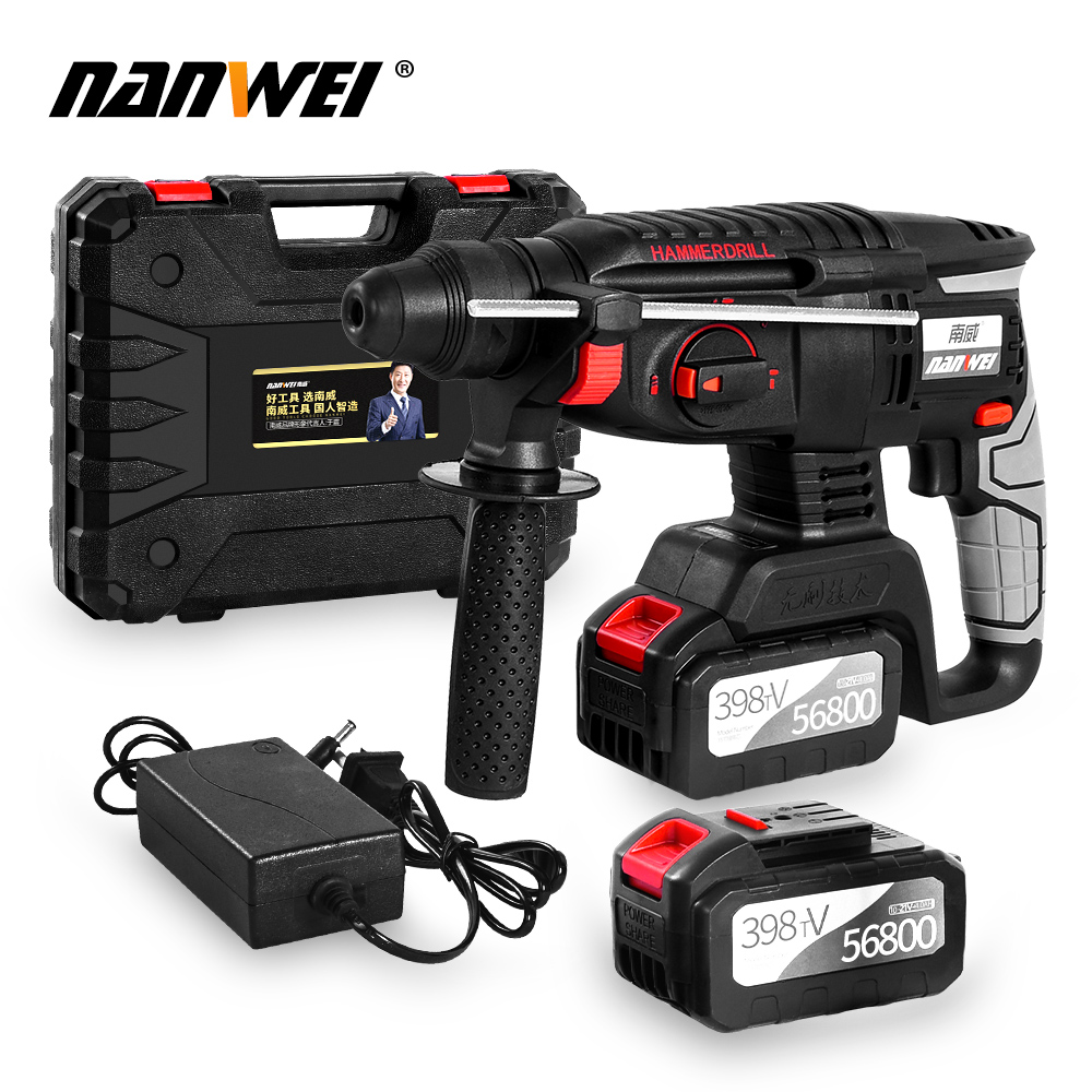Rechargeable Cordless 21V Brushless Rotary Electric Hammer Drill Impact Function