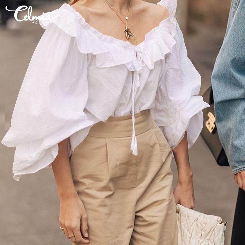 5XL Top Fashion Celmia Women Long Sleeve Autumn Ruffles Blouse O-Neck Lace Up Casual Solid Shirts Plus Size Blusas Femininas 4XL