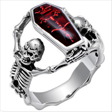 Anillo Vintage de plata para hombres, anillo de calavera de piedra roja para hombres y mujeres, anillo esqueleto Punk, joyería gótica, regalos de fiesta de Halloween, Tamaño 7-12