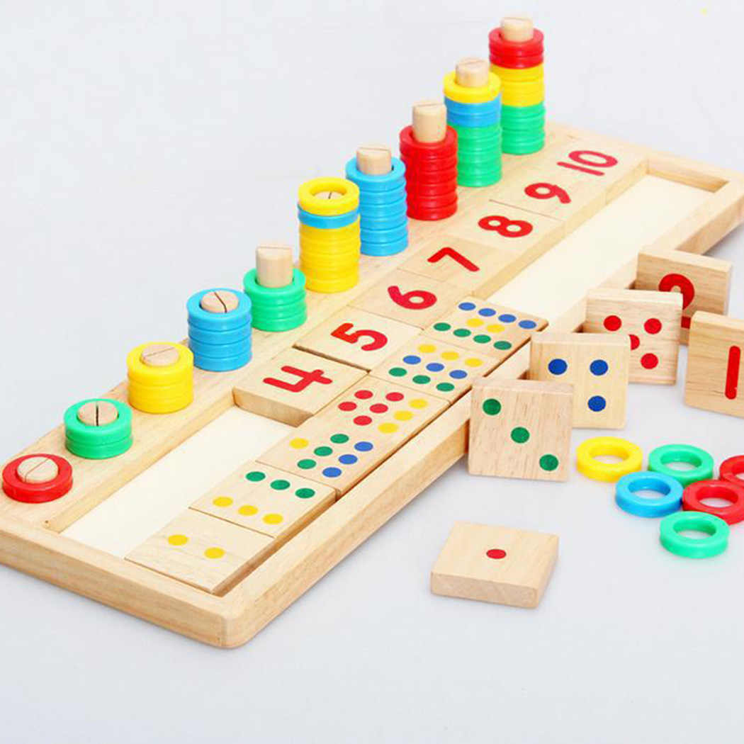 Kids Wooden Montessori Materials Learning To Count Numbers Matching Early Education Teaching Math Toys Logarithmic Board