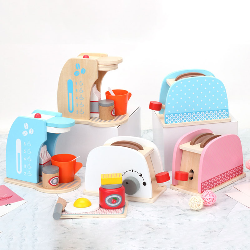 Wooden Kitchen Toys Pretend Cooking Food Play Bread Maker Coffee Set Safe Cute Children Girl Wooden Educational  Toy Gift Game