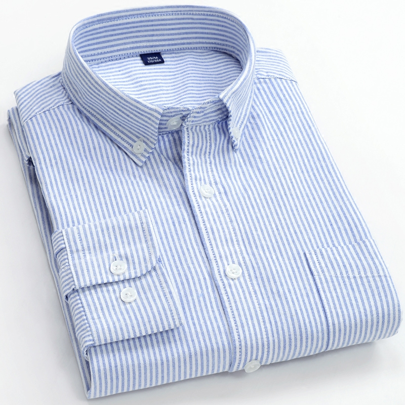 Men's Oxford Shirt Striped Long Sleeve Casual Light Blue Shirt Business Man Slim Fit Office Parklees White Formal Shirt HH50CS
