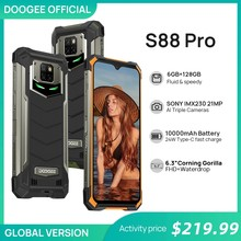 Doogee s88 pro áspero smartphone 10000mah telefones helio p70 octa núcleo 6gb ram 128gb rom ip68/ip69k telefone inteligente android 10 os