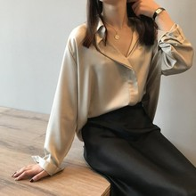 Ladies Shirt Korean V-neck Solid Color Loose Lazy Style Long