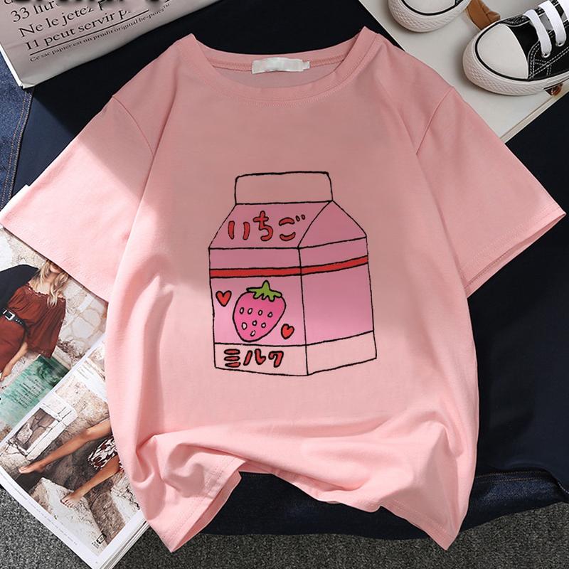 Japan Strawberry Juice Graphic Print T shirt Women 2020 New Summer Fashion Tshirt Tee Harajuku Aesthetic Pink Top Female T Shirt