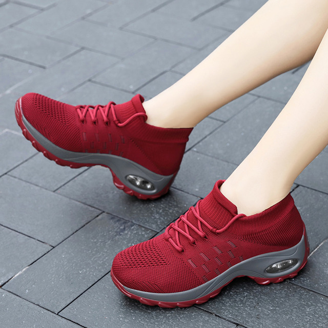 Retro Red Women Shoes Outdoor Platform Wedge Shoes Ladies Sneakers Sock Shoes Lace up Women Tennis