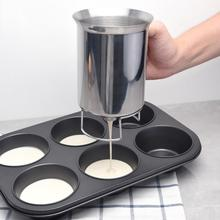 Kitchen Tool Durable Practical Home Heat Resistant Batter Dispenser Stainless Steel Pastry Funnel Making Cake Handheld Separator baking tool cake dough batter cream dispenser cupcake funnel batter separator valve measuring cup muffin cups optional cake mold