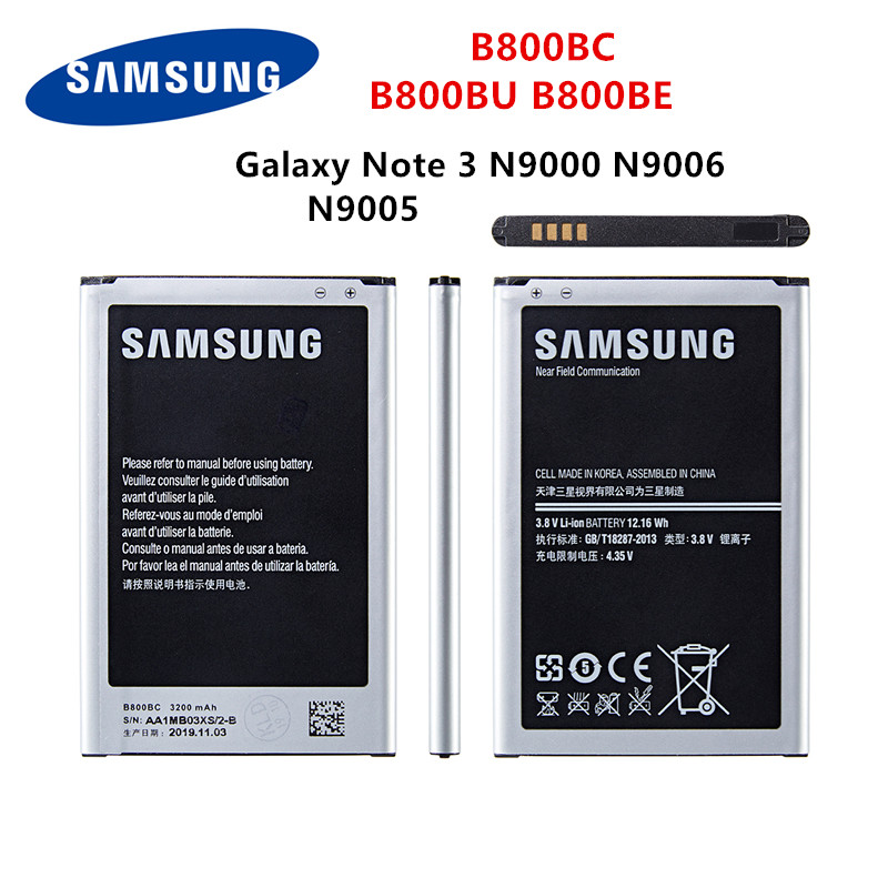 SAMSUNG Orginal B800BC B800BU B800BE Battery 3200mAh For Samsung Galaxy Note 3 N900 N9002 N9005 N9006 N9008 N9009 With WO