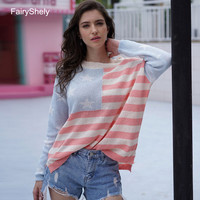 2019 Autumn Winter USA Flag Stripe Knitted Sweater Women O Neck Casual Loose Oversized Sweater Pullovers Long Sleeve Female Tops