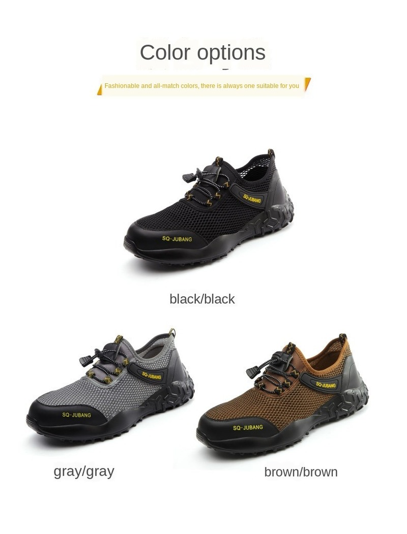 QUHENG Work Boots Portable Industrial Shoes Puncture Proof Wear-resisting Safety Men's Shoes Security Steel Toe Comfortable