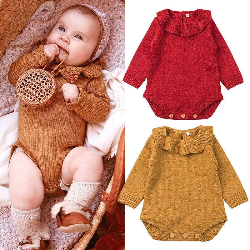 Cute Newborn Baby Girls Knit Warm Ruffles Sweater Jumpsuit Outfits Set Kids Baby Girl Winter Clothes
