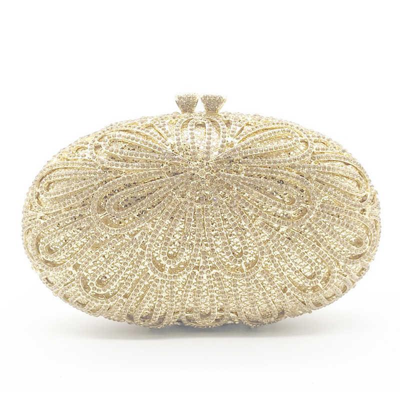 Frete grátis em estoque de ouro metal cristal branco diamante mulher noite embreagem bolsa moda feminina casamento embraiagens bolsas
