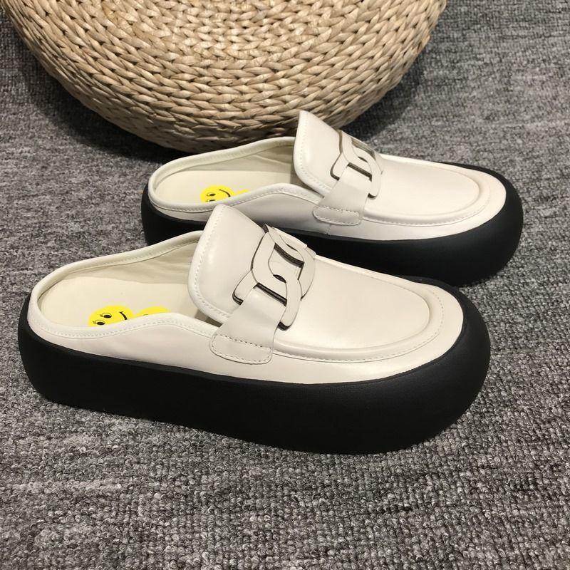 Туфли женские на низком каблуке, модные шлепанцы с цепочкой, без каблука, сандалии, плоская подошва, Joker, 2021