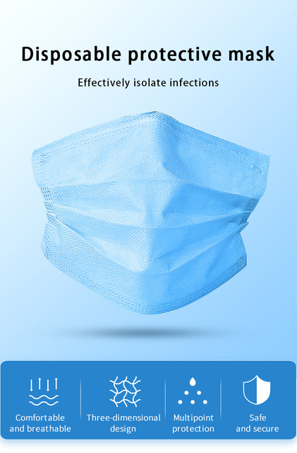 Top Quality Disposable Mask 100Pcs 3 Layer  Nonwoven Soft Breathable Antiviral Anti Pollution Flu Hygiene Face Mouth kids boys 4