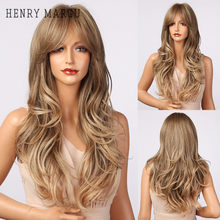 HENRY MARGU Long Wavy Ombre Brown Highlight Wigs with Bangs Synthetic Natural Wig for Women Heat Resistant Cosplay Hair Wigs