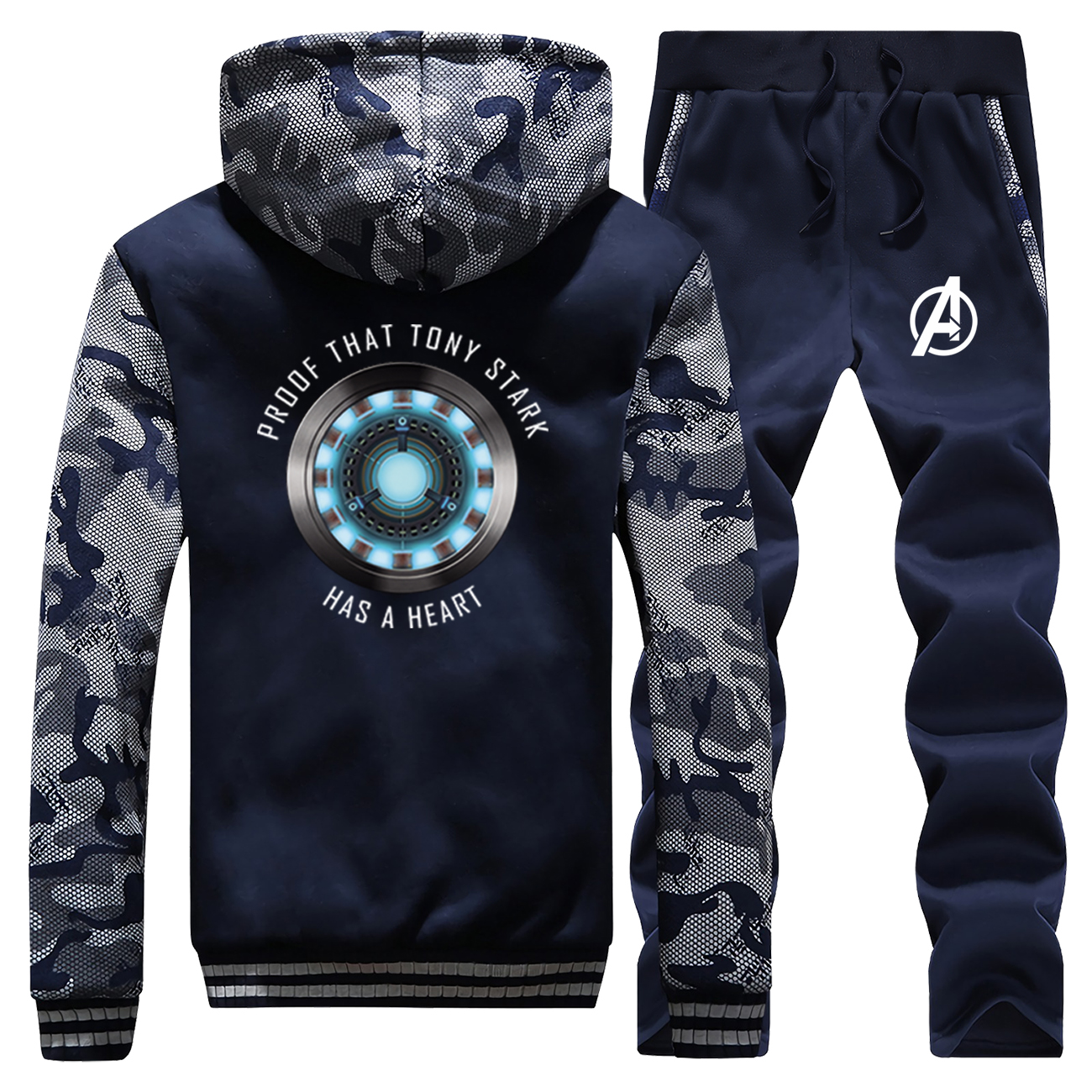 Iron Man Tony Stark Hoodies Pants Set I Love You 3000 Men Tracksuit Coat Track Suit Winter Thick Fleece Jacket Camo 2 Piece Sets