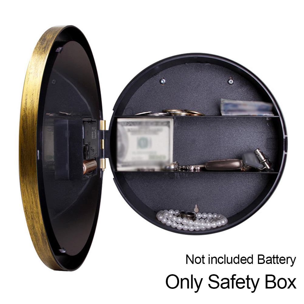 Retro Wall Hanging Cash Storage Office Clock Safety Box Vintage Jewelry Pointer Security Home Secret Watch