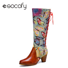 Chunky Heel SOCOFY Genuine-Leather Embroidery Mid-Calf-Boots Women Shoe Pointed-Head