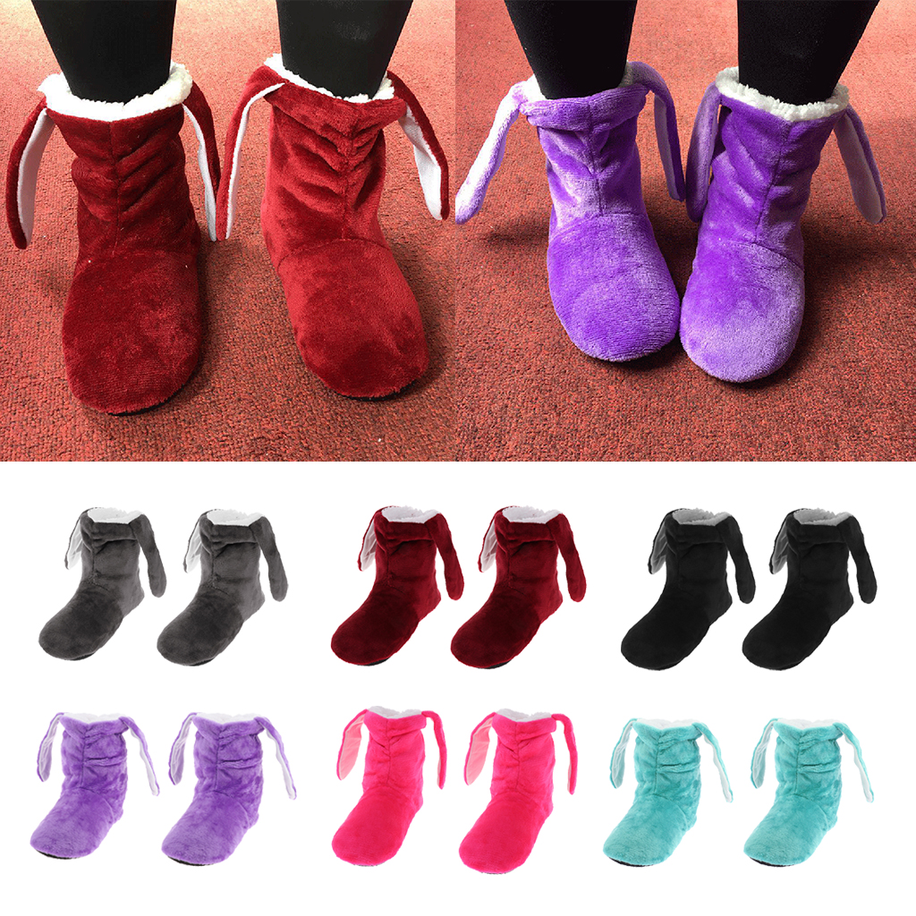 Womens Comfort Warm Bootie Slippers Fuzzy Ankle Fleece Lining Slip-on House Shoes Anti-Slip Sole for Indoor